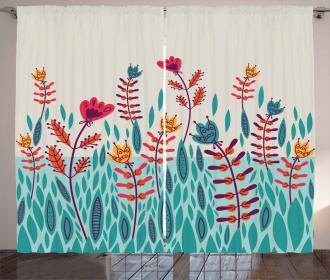 Doodle Poppy Flowers Curtain