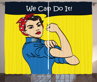 We Can Do It Woman Curtain