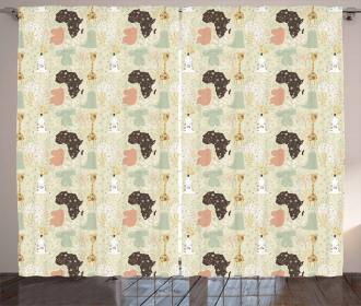 African Fauna Pattern Curtain