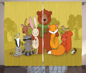 Wild Animals Friends Curtain