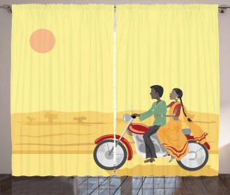 Asian Couple Sunset Curtain