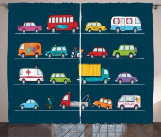Trucks Van Bikes Curtain