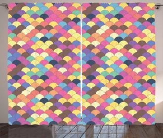 Pastel Retro Funky Grid Curtain