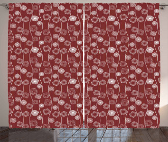 Spirals and Wavy Lines Curtain
