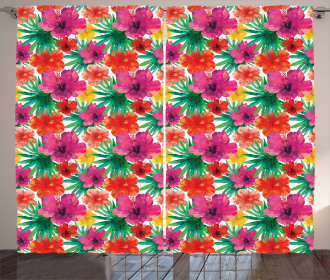 Watercolor Hibiscus Curtain