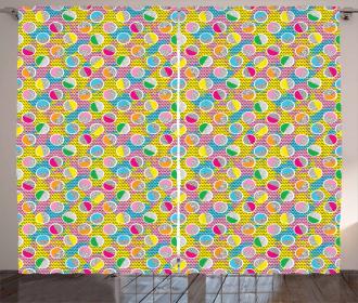 Memphis Style Circles 80s Curtain
