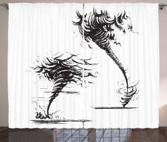 Hurricane in Sketch Style Curtain
