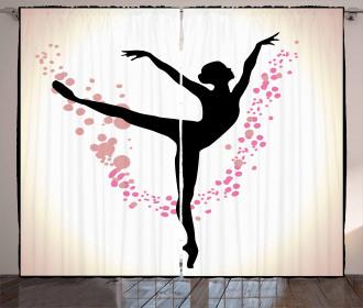 Woman Dancer Color Spots Curtain