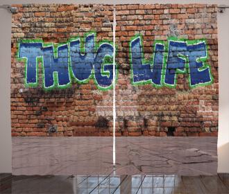 Graffiti Quote Brick Wall Curtain
