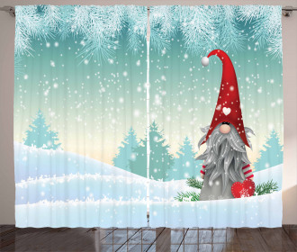 Elf Tomte Standing on Snow Curtain