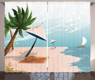Beach Landscape Paradise Curtain
