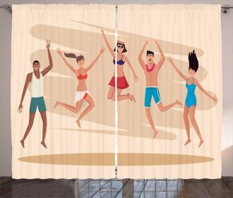 People Dance at Beach Curtain