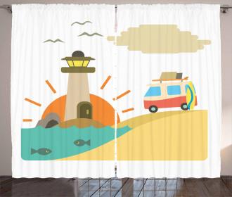Summer Holiday Cartoon Curtain