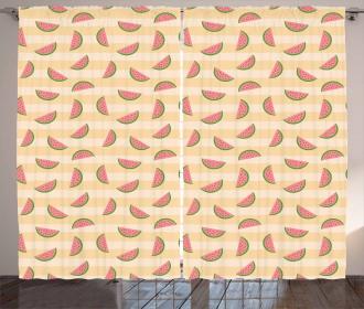Fresh Summer Watermelons Line Curtain