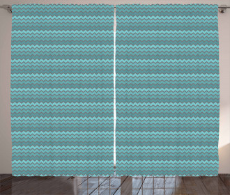 Zigzags in Shades of Blue Curtain