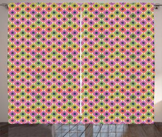 Pastel Color Ogee Shapes Tile Curtain