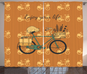 Bicycle with Flower Crates Curtain