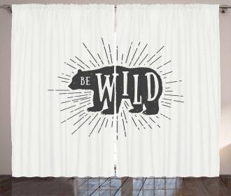 Woodland Bear Be Wild Phrase Curtain