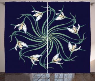 Art Nouveau Floral Design Curtain