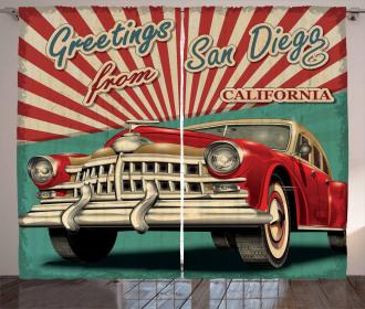Greetings Quote Retro Car Curtain