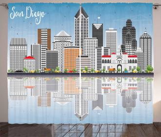 City Skyline Reflections Curtain