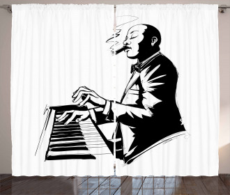Jazz Pianist Sketch Artwork Curtain