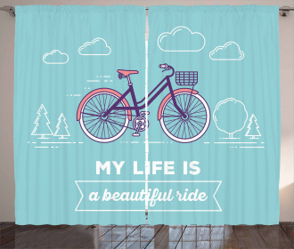 Retro Pastel Bike with Text Curtain