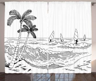 Monochrome Wind Surf Curtain