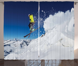 Skiier Rushing Down Curtain
