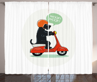 Scooter Ridding Puppies Curtain