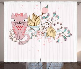 Cartoon House Pet Flowers Curtain