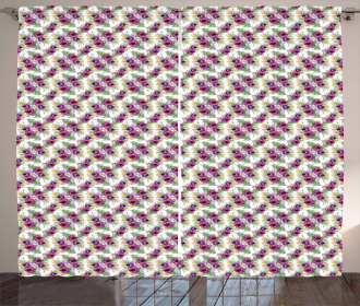 Rows of Purplish Flowers Curtain