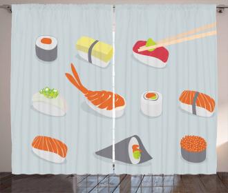 Oriental Asian Sea Food Dish Curtain