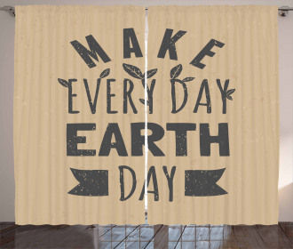 Typographic Quote Earth Day Curtain