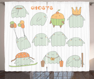 Funny Chubby Scary Characters Curtain