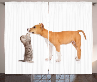 Kitten and a Stafford Puppy Curtain