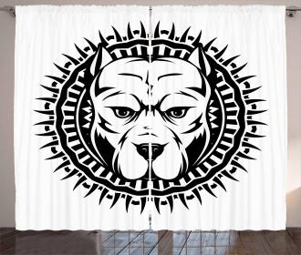 Aggressive Fighting Dog Curtain