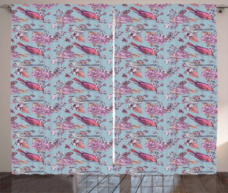 Perching Birds and Flowers Curtain