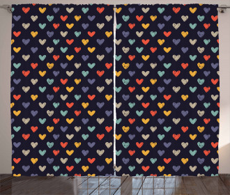 Sketchy Doodle Hearts Curtain