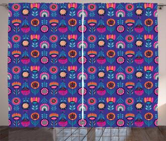 Boho Style Vibrant Blossoms Curtain