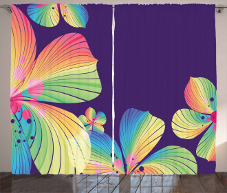 Abstract Big Exotic Flower Curtain