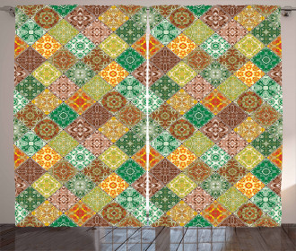 Traditional Vintage Tiles Curtain