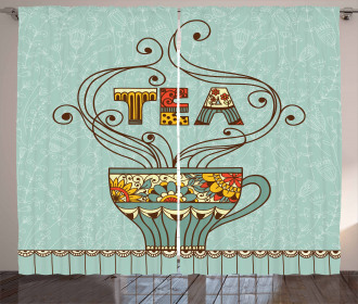 Cup Floral Ornamental Lines Curtain