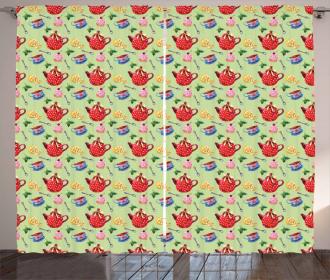 Teapots with Polka Dots Lemons Curtain