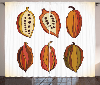 Tropical Fruit Beans Graphic Curtain