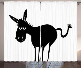 Black Fun Mascot Silhouette Curtain