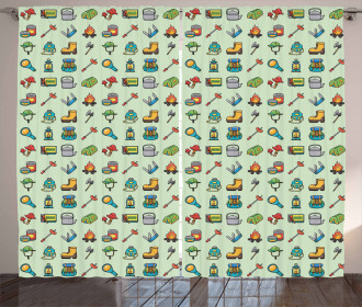 Outdoor Activity Icons Curtain