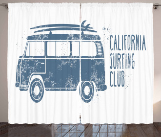 California Surfing Club Vintage Curtain