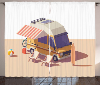 Camper Van Chairs and Surfboard Curtain