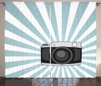 Retro Pop Art Style Photo Curtain
